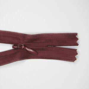 Rejtett cipzár 60 cm  - bordó - 178
