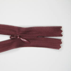 Rejtett cipzár 25 cm  - bordó 178