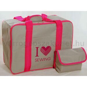 Varrógép táska - szürke/pink